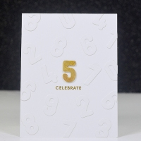 5th celebration card for Less is more
